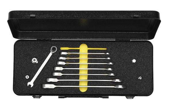Satz-Maulschlüssel mit Ringratschen im Blechkasten, 8-teilig + Adaptoren, ELORA 204S 8M OMS