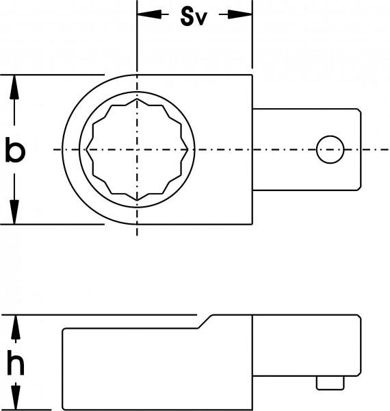 Einsteck-Ringschlüssel, 9x12 mm, ELORA-2062-22 mm