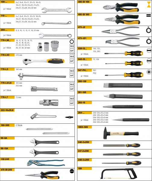 Werkzeugsortiment 80-teilig, ELORA-WS-3M