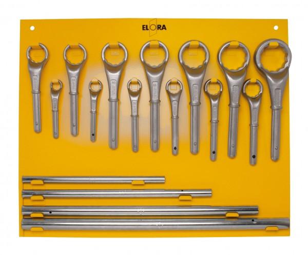 Metalltafel für Zugringschlüssel-Sätze, 16+17-teilig, ELORA-85L
