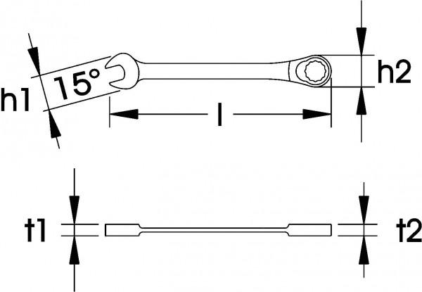"Maulschlüssel mit Ringratsche, ELORA 204A-5/8"""