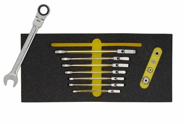 Maulschlüssel mit Gelenk-Ringratsche, 12-teilig, ELORA-OMS-32