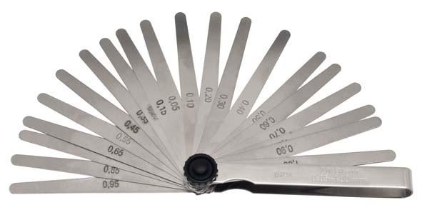 Fühlerblattlehre, rostfrei, 20-teilig 0,05-1,00 mm, ELORA-188R-20M