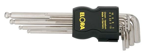 Kugelkopf-Winkelschraubendreher-Satz, extra , 9-teilig 1,5-10 mm, im Kunststoffhalter, ELORA-159SKUB