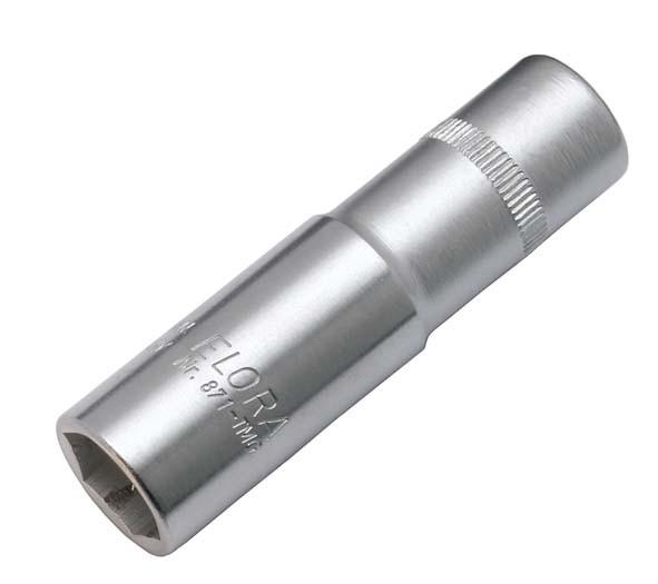 """Zündkerzen-Steckschlüssel-Einsatz 3/8"""", extra tief mit Magnet, ELORA-871TMG-18 mm"""