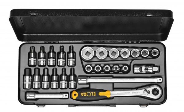"""Steckschlüssel-Satz 1/2"""", 6-kant+in+TORX®, 30-teilig 10-50 mm, ELORA-771-LMITXK"""