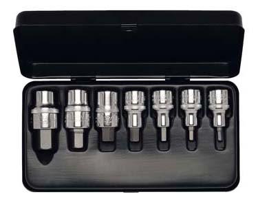 """Steckschlüssel-Satz 1/2"""", Innen-Sechskant, Titan, 9-teilig 4-19 mm, ELORA-770-INMTIN"""