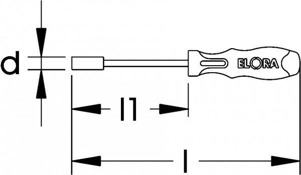 Sechskant-Steckschlüssel, flexible, ELORA-213-7 mm