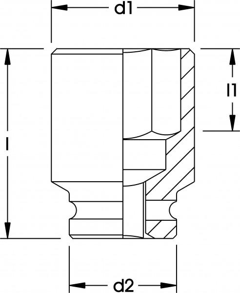 """Kraftschrauber-Einsatz 3/4"""", 6-kant, ELORA-791-17 mm"""