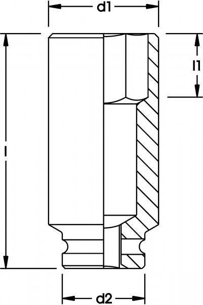 """Kraftschrauber-Einsatz 1"""", extra tief, 6-kant, ELORA-792LT-21 mm"""