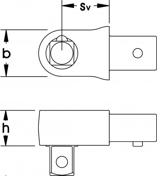 """Einsteck-Vierkant, feststehend 1/4"""", 9x12 mm, ELORA-2074-1"""