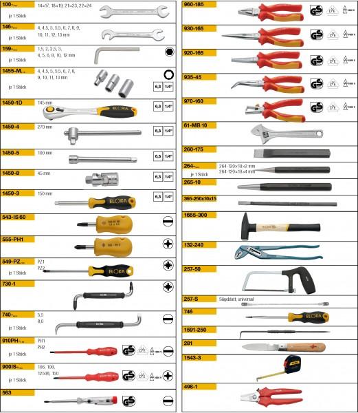 Werkzeugsortiment 75-teilig, ELORA-WS-10M